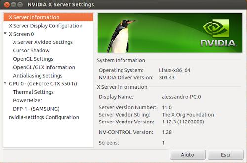 nVidia 304.43 su Ubuntu