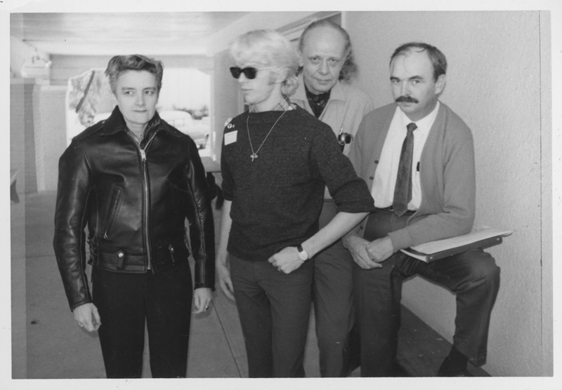 Stella Rush, pseudonym Sten Russell (left); Harry Hay (second from right); Jim Kepner (right) and another at the Western Regional Conference of Homophile Organizations at the Aldersgate conference center, Oregon. 1967.