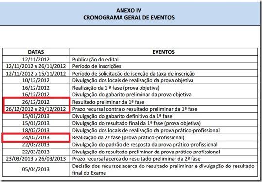 IX OAB - 2012.3 - CRONOGRAMA