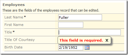 When a user attempts to save a blank value in a required field, the client library will display an error message.