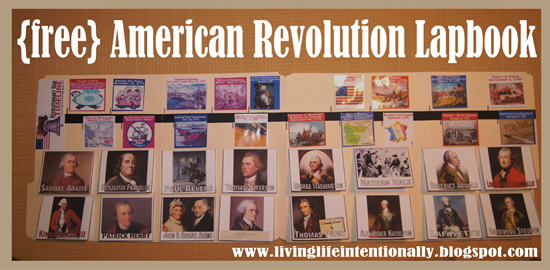 FREE American Revolution Lapbook with Timeline and Famous Americans in History for Homeschoolers