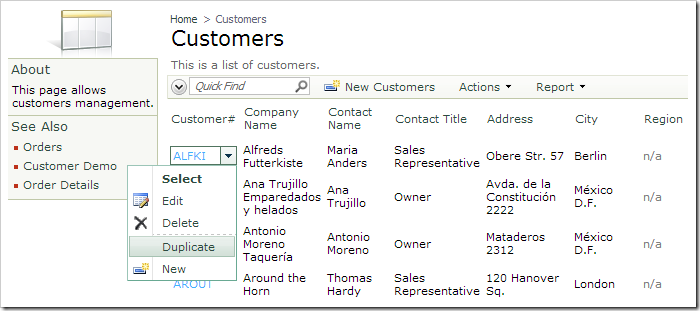 Duplicate context menu action for a row in Customers grid.