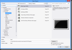 Visual Studio 2012 refers to Windows 8 Modern UI apps as Windows Store apps