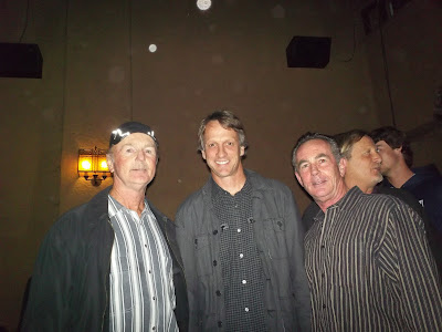 Brian, Tony Hawk and Brad meeting Tony Hawk for the first time, hard to believe but its true at the La Paloma Theatre during the bones Brigade movie.
