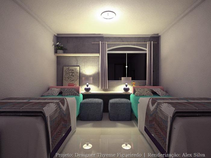 concreto aparente em quarto de menina