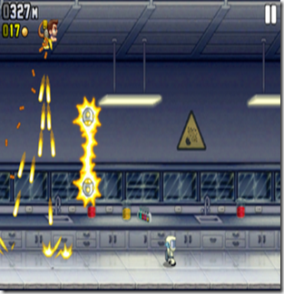Use your machine-gun jetpack to maneuver past obstacles while you rain bullets down below.