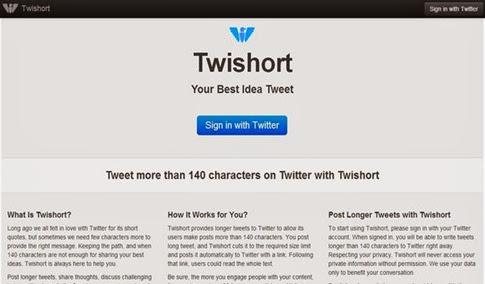 Tuits con más de 140 caracteres con Twishort