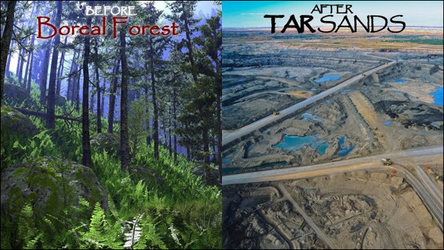 Before: Boreal forest. After: Tar sands mine. Photo: Toban Black / flckr