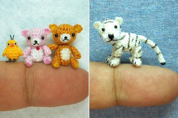 Miniaturas-Animais-Crochê-Urso-Pintinho-Felino
