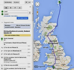 Google maps image showing distance travelled Yeovil to Lerwick