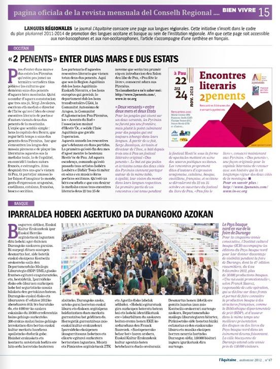 revista del Conselh Regional d'Aquitània novembre 2012