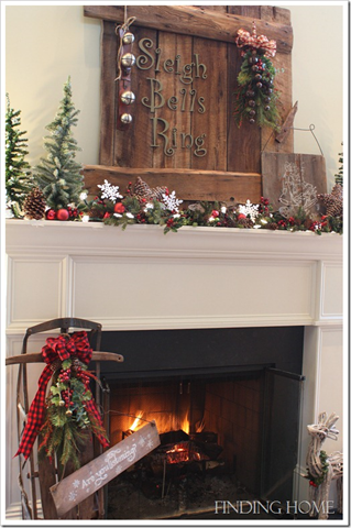 rustic christmas mantel