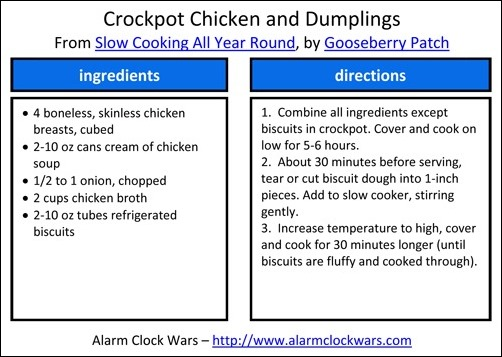 crockpot chicken and dumplings recipe card