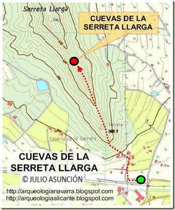 Mapa cuevas de la Serreta Llarga - Novelda