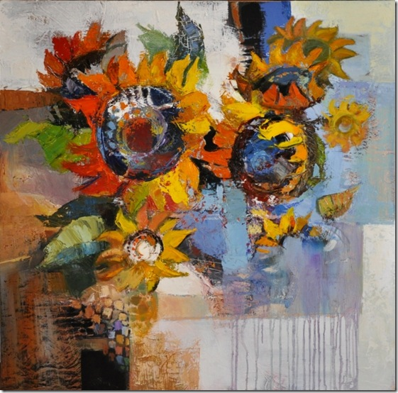 Composition with sunflowers 2-Iosif Derecichei-Enkaustikos