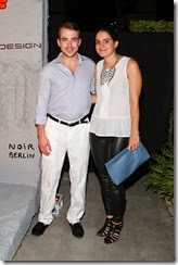 MIAMI BEACH, FL - DECEMBER 03: Alexander Clark (L) and Rachel Deutsch attend the Porsche Design x Thierry Noir Art Basel Miami Beach Event at The Temple House on December 3, 2013 in Miami Beach, Florida.  (Photo by Neilson Barnard/Getty Images for Porsche Design)