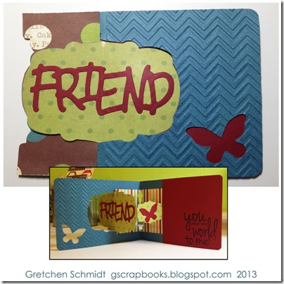 Friend Card with Label Window Pop `n Cuts by @gscrapbooks