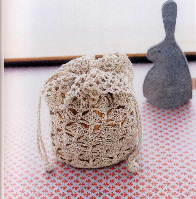 Crochet Stack 5 Crochet Lace Drawstring Bag