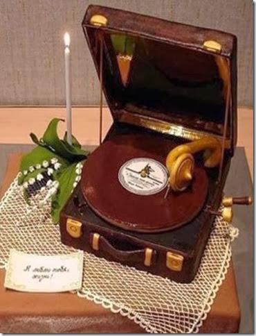 留聲機 cake 婚禮小物