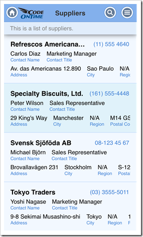 An example of partially visible data fields displayed in a grid view with 'List' style in an app with Touch UI.