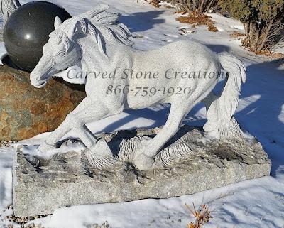 Carved Granite Running Horse Statuary in Bianco Catalina Granite