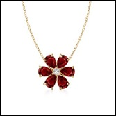 Pear Ruby and Diamond Flower Pendant