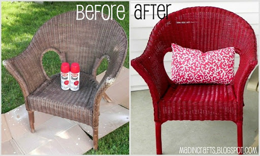 Krylon Dual Repainting a Wicker Chair