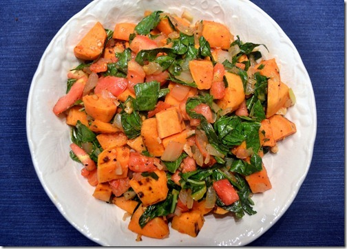 Sweet Potatoes with Collard Greens and Tomatoes
