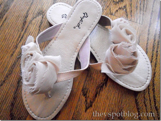 flip-flop, cute, taupe, shoe, rosette, fabric, summer, floral