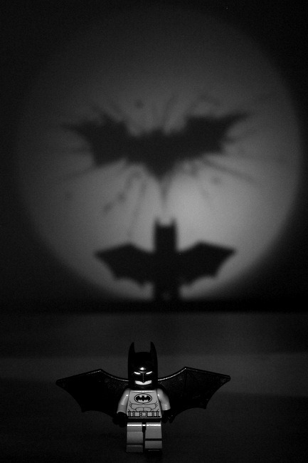 Dark Knight Shadows Rising Using My Personal Bat Signal - Lego Minifig Batman