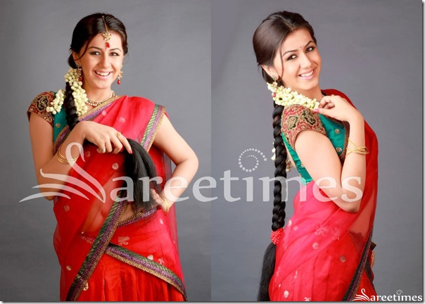 Nikitha_Red_Half_Saree