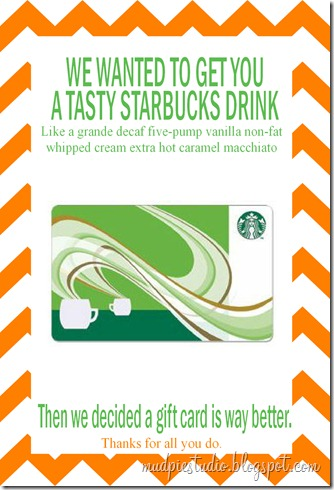 Starbucks Gift Card for Teacher Appreciation