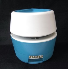 Blue and white plastic Rubbermaid carousel canister set