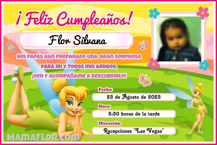 Tarjeta de Cumpleaños de TinkerBell (La Campanita), para imprimir con Foto