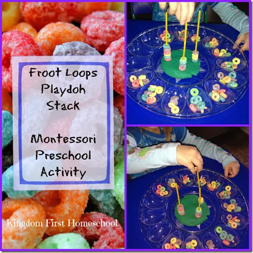 Froot Loops Playdoh Stack-Montessori Preschool Activity