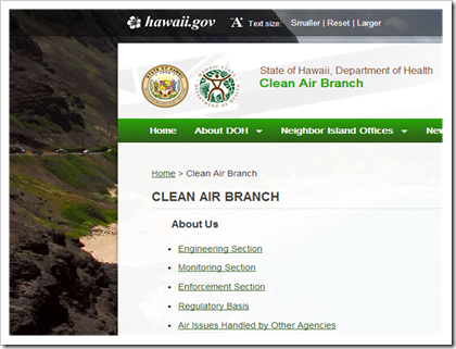 Hawaii Department of Health Clean Air Branch Air Permits not online