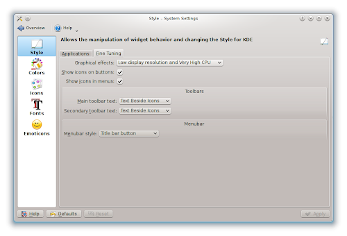 KDE 4.10 - menubar style