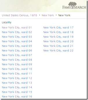 FamilySearch does not recognize the different enumerations in its browse structure