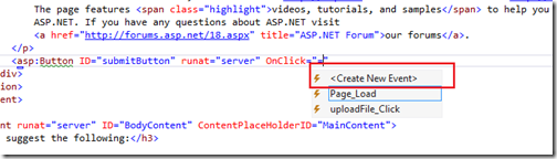Event handler generation in visual studio 2012 - What's new in visual studio 2012