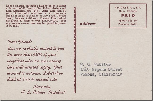 Pomona First Federal Savings and Loan Association - Pomona, California Postcard pg. 2