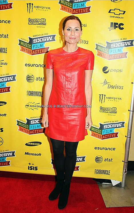 MINNIE DRIVER RAOUL CRUISE 2012 MOCK NECK TIE DRESS ORANGE Bloomindales Southwest Music, Film Interactive Festival AustinTexas