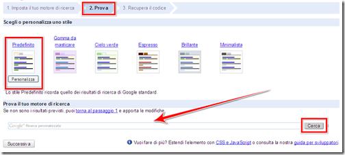 come impostare design motore ricerca web personalizzato incorporare blog blogger wordpress
