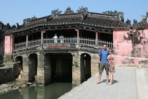 Lynette outside the Japenese Covered Bridge, adopted as Hoi An's emblem and built in the sixteenth century.