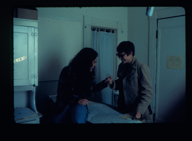 Delene Bivolcic and another woman in examination room of the Herself Health Clinic at Gay Community Services Center (GCSC). Circa 1972