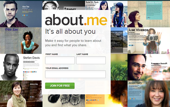 about.me website for personal branding