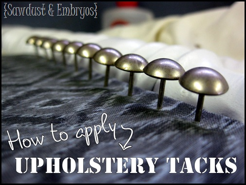 Upholstery Tacks 101 ~ Applying Them In A Straight Line! {Sawdust And  Embryos}