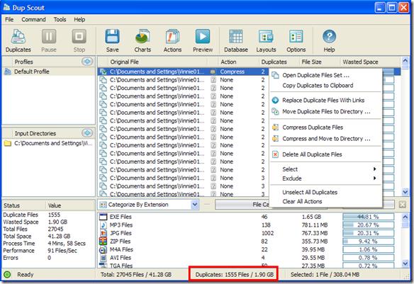 Dup Scout Freeware risultati scansione file duplicati rilevati
