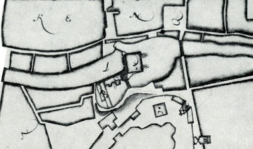 Kart över Akademikvarnen, Kvarnholmen och Kvarnbron från 1667.