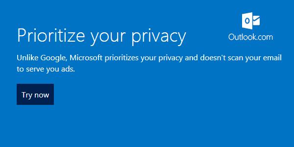 OutlookはGmailのようにメールの内容をチェックするような事はしません。