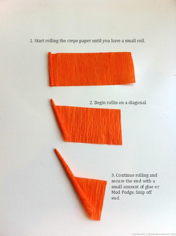 Miniature Crepe Paper Carrots - homework (13)